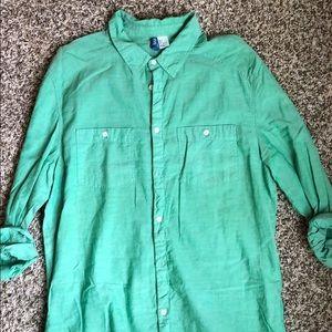 Green linen button up